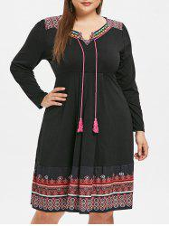Ethnic Print Plus Size Embroidery Shift Dress -