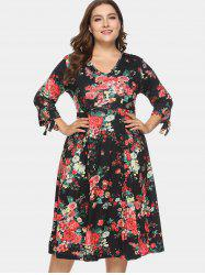 Floral Print Plus Size Tied Sleeve A Line Dress -