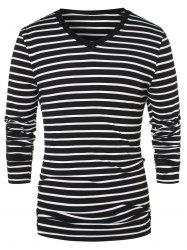 V Neck Long Sleeve Striped Top -