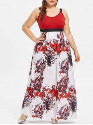 Plus Size Sleeveless Floral Print Maxi Dress -