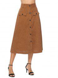 Corduroy Button Up A Line Skirt -