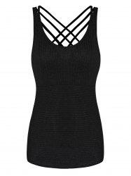 Strappy Criss Cross Solid Tank Top -