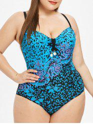 Cut Out Floral Print Plus Size Swimwear -