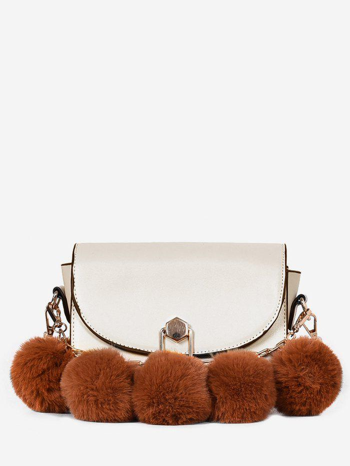 Outfit Faux Fur Ball PU Leather Crossbody Bag