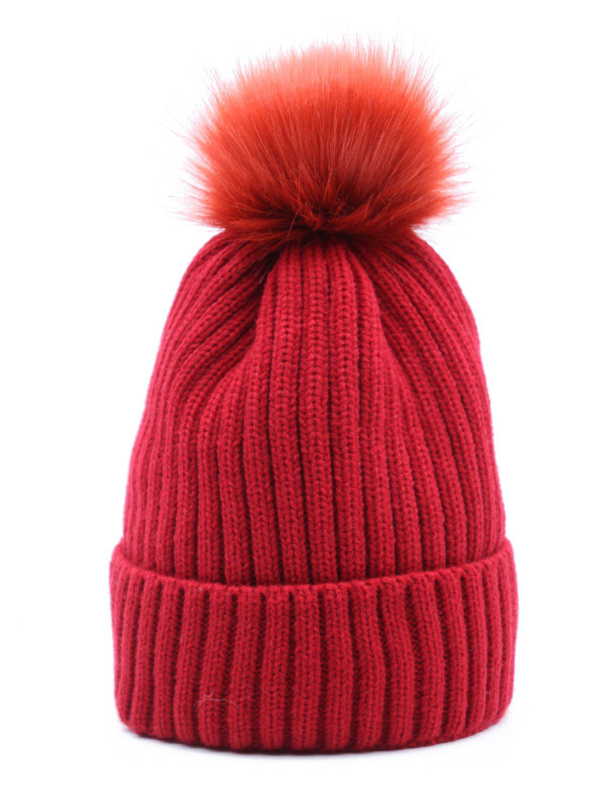 Discount Winter Fuzzy Ball Decoration Knitted Hat