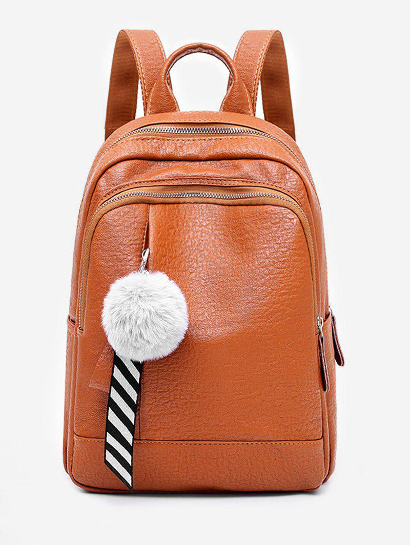 Hot Faux Fur Ball Large Capacity Backpack