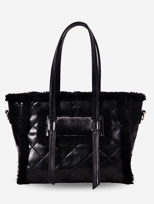 Affordable Fuzzy Patchwork Diamond Pattern Shoulder Bag