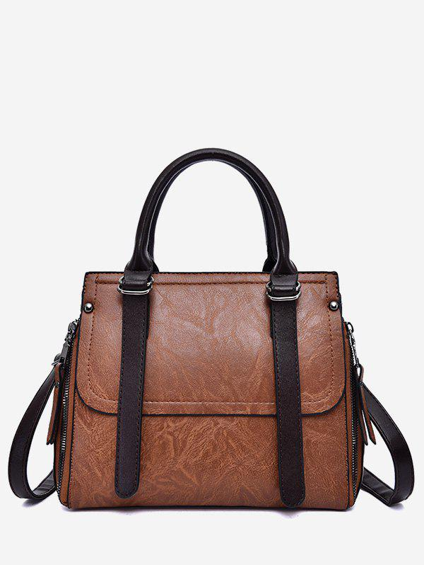 Fancy PU Leather Zip Tote Bag With Strap