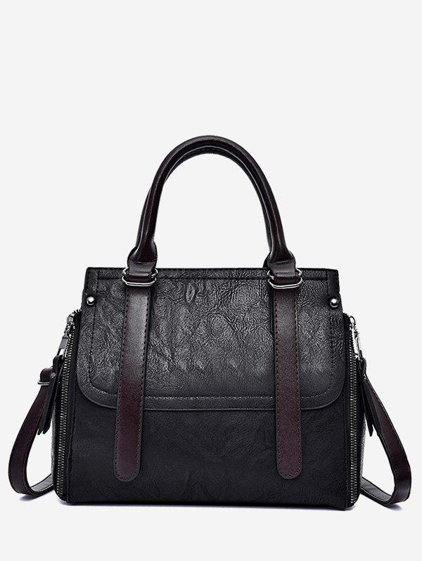 Trendy PU Leather Zip Tote Bag With Strap
