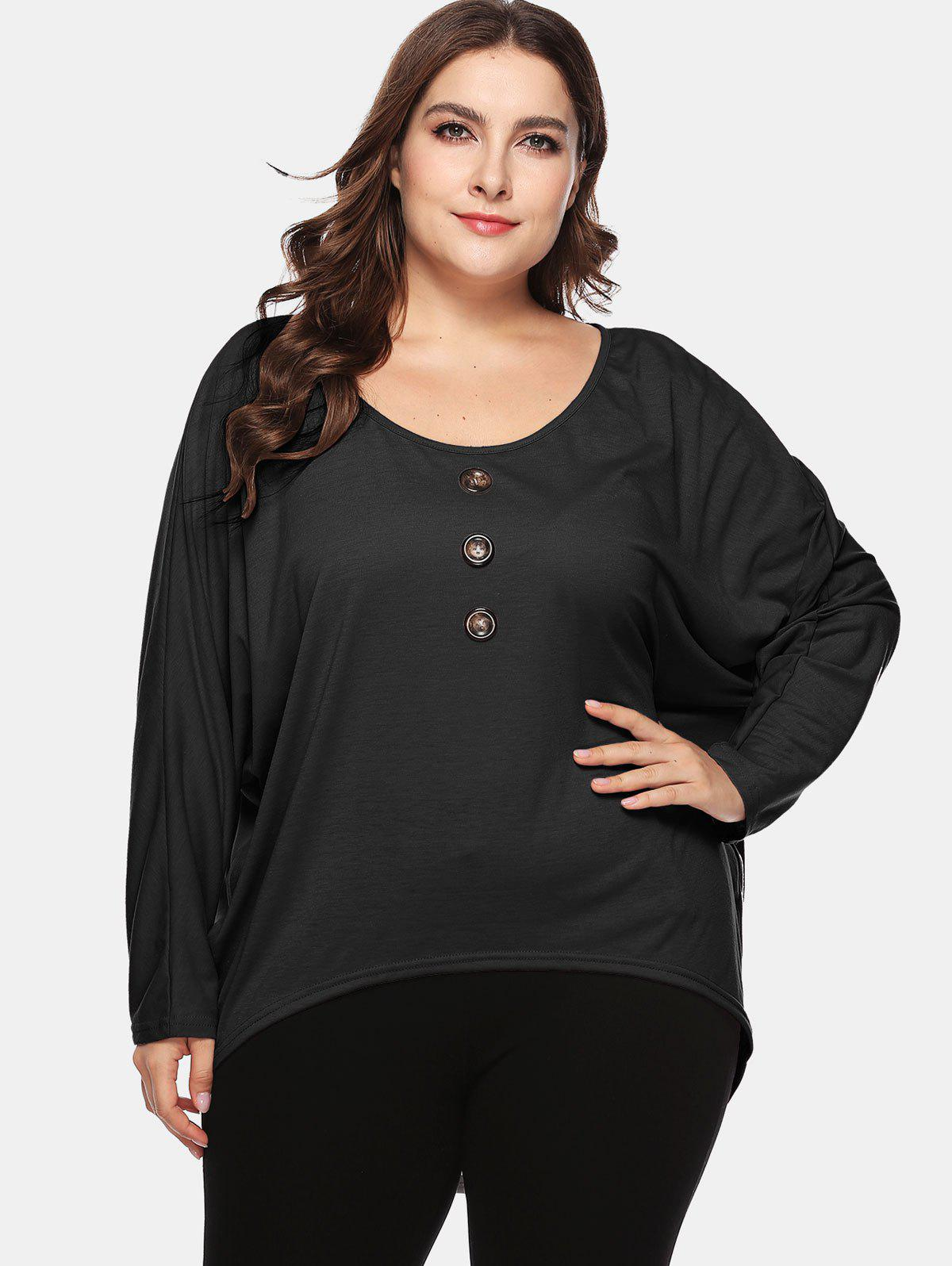 Shop Button Embellished Plus Size High Low T-shirt