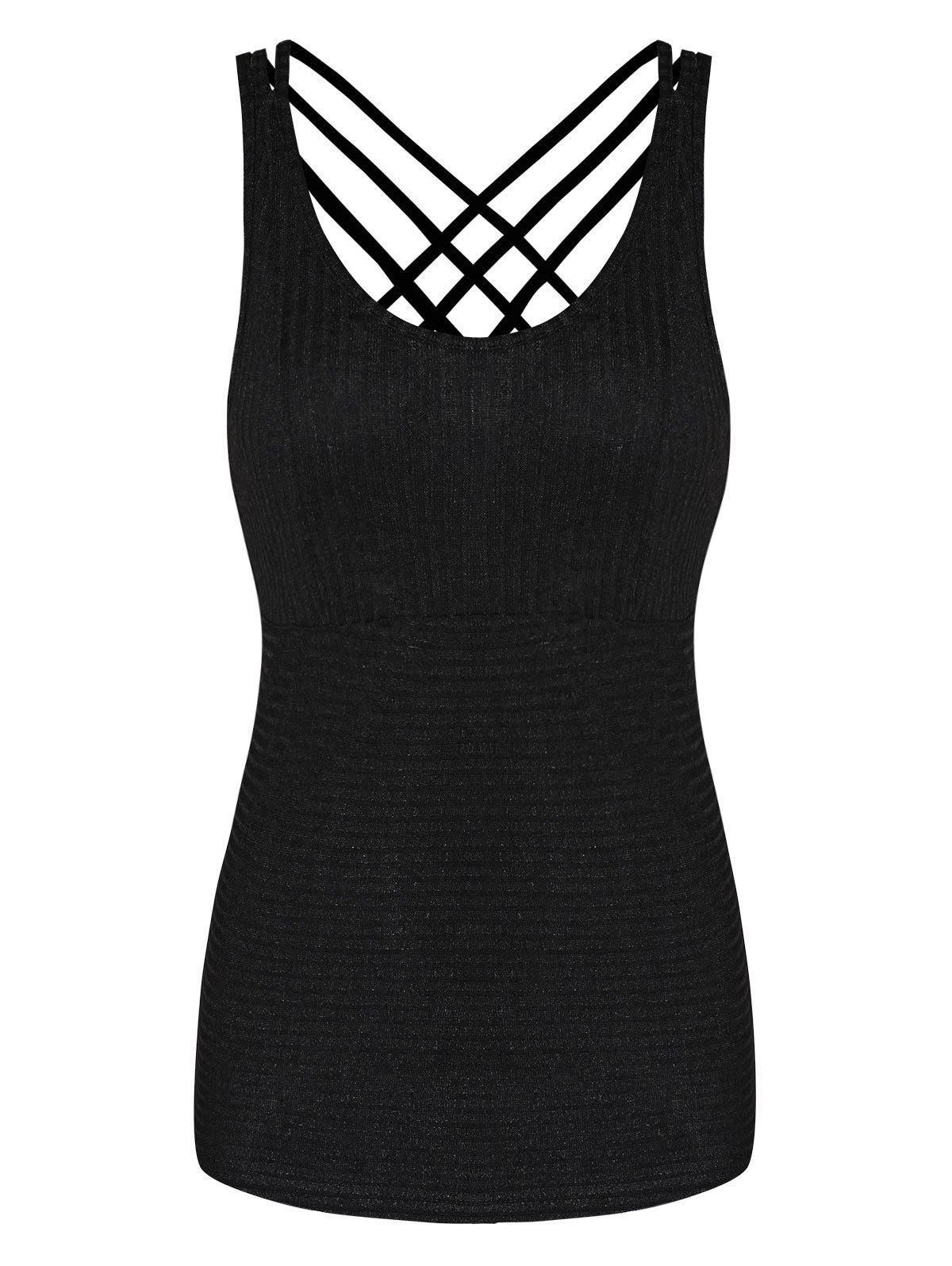 Latest Strappy Criss Cross Solid Tank Top