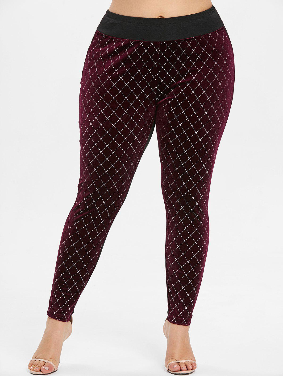 Cheap Geometric Pattern Plus Size Velvet Panel Leggings