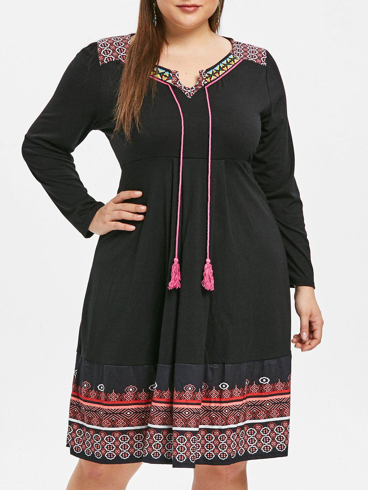 Online Ethnic Print Plus Size Embroidery Shift Dress