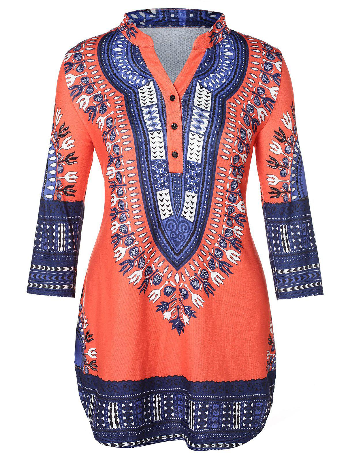 Discount Tribal Print Plus Size Henley T-shirt