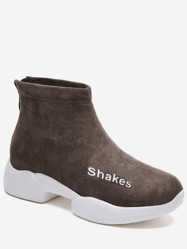 Discount Letter Detail Suede Sneaker Boots