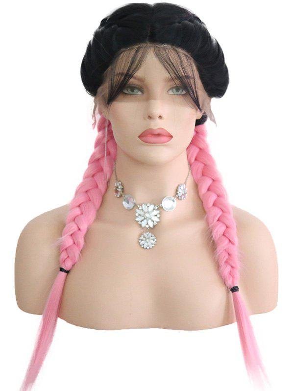 Store Middle Part Colormix Double Braids Lace Front Wig