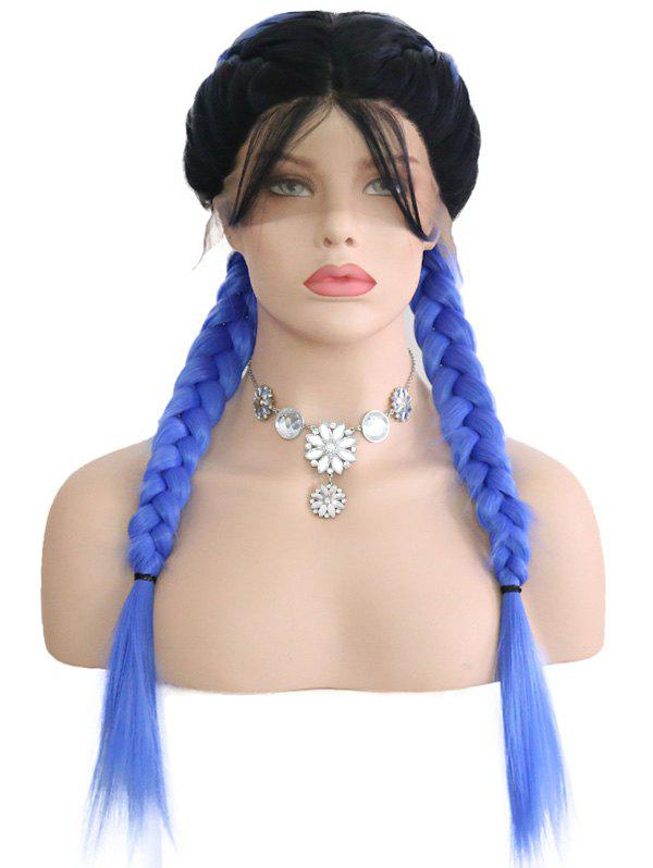 Fashion Center Parting Ombre Double Braids Lace Front Wig