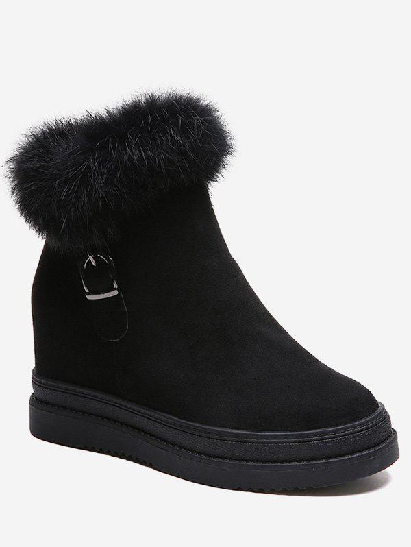 Hot Hidden Wedge Fuzzy Decor Ankle Boots
