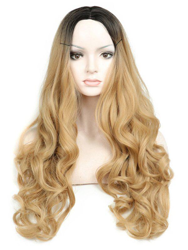 Cheap Long Middle Part Capless Ombre Wavy Synthetic Wig