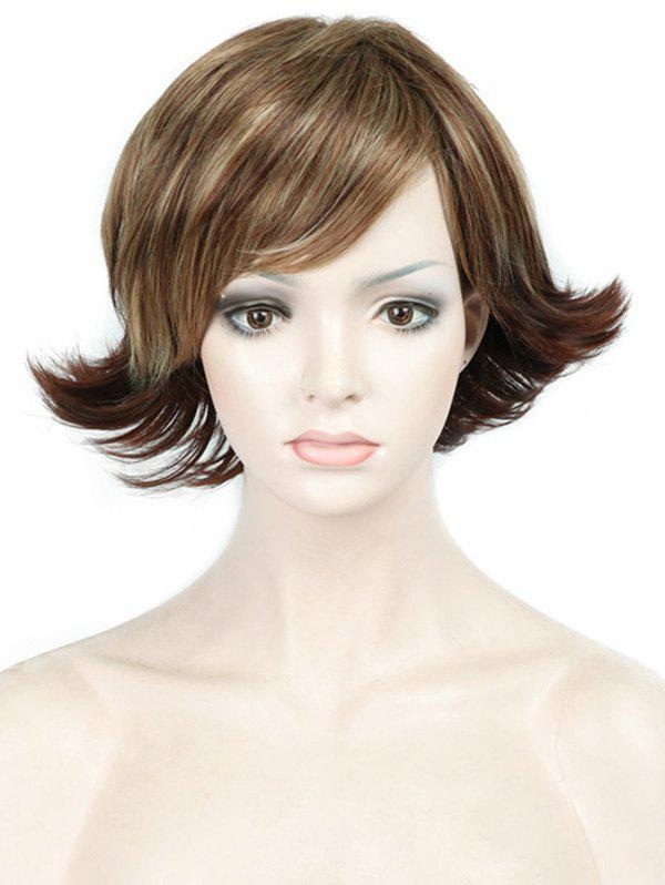 Trendy Short Side Bang Tail Upwards Straight Colormix Synthetic Wig