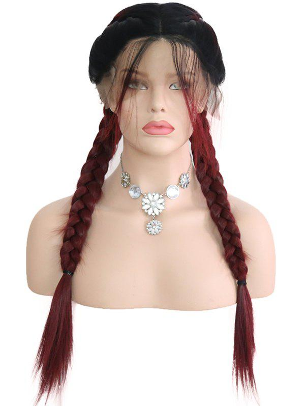 Cheap Middle Part Colormix Double Braids Synthetic Lace Front Wig