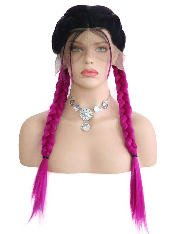Outfits Middle Part Ombre Double Braids Synthetic Lace Front Wig
