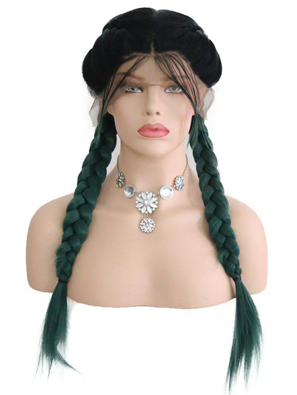 Chic Center Parting Ombre Double Braids Synthetic Lace Front Wig