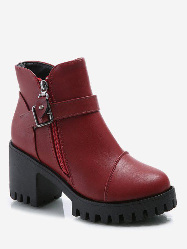 Fancy Platform Mid Chunky Heel Ankle Boots