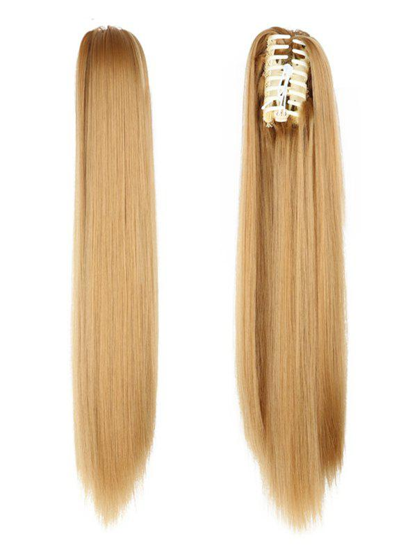 Chic Long Straight Synthetic Claw Clip in Ponytail