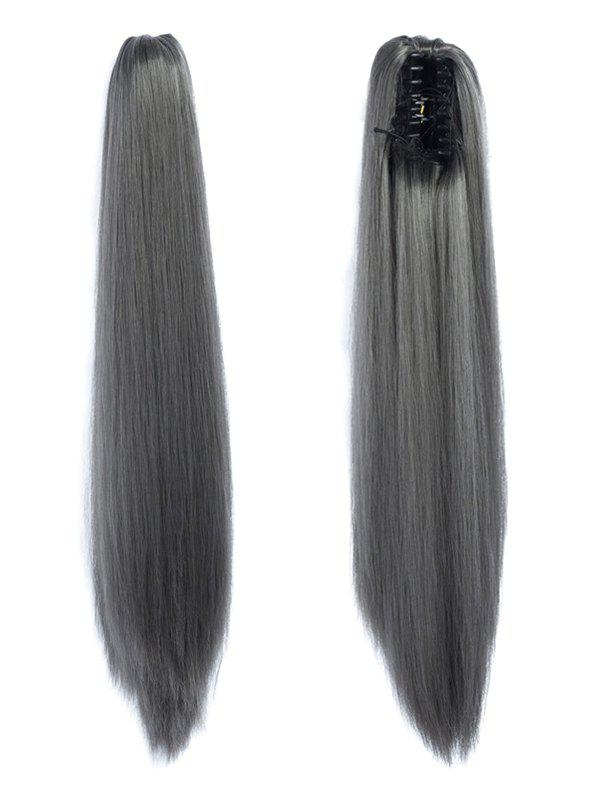 New Long Straight Synthetic Claw Clip in Ponytail