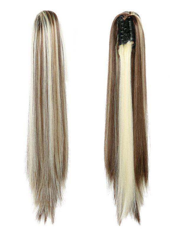 Outfit Long Straight Synthetic Claw Clip in Ponytail
