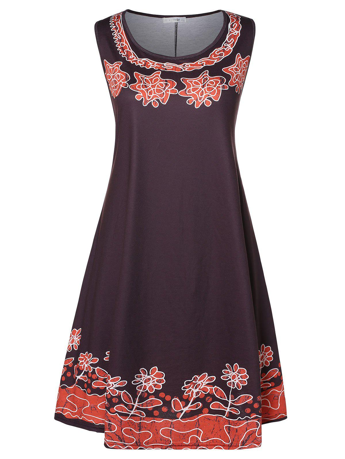 New Plus Size Floral Knee Length Trapeze Dress
