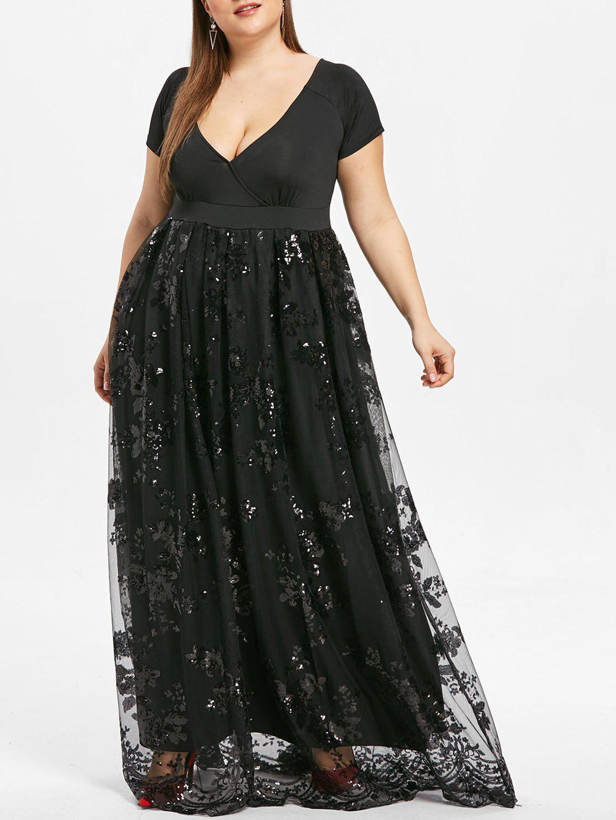 28% OFF] Plus Size Floral Sequined Maxi Prom Dress | Rosegal