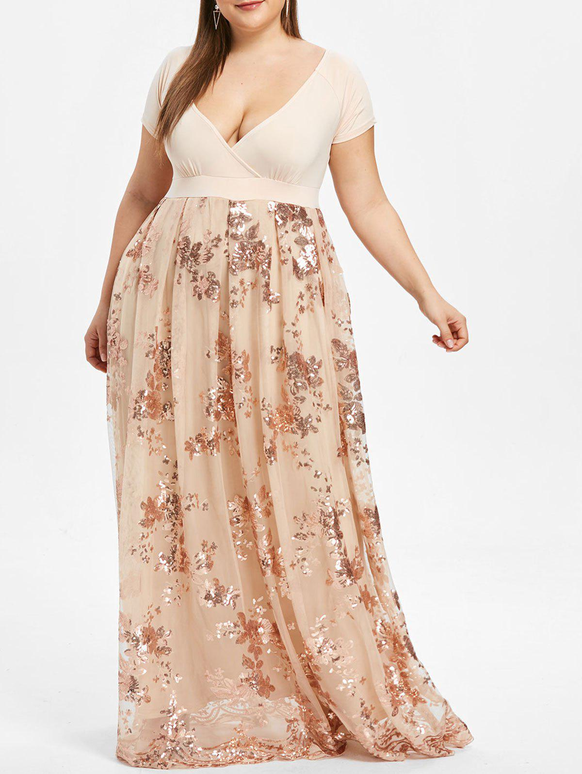 c7e89f7200b 36% OFF  Plus Size Floral Sequined Maxi Prom Dress