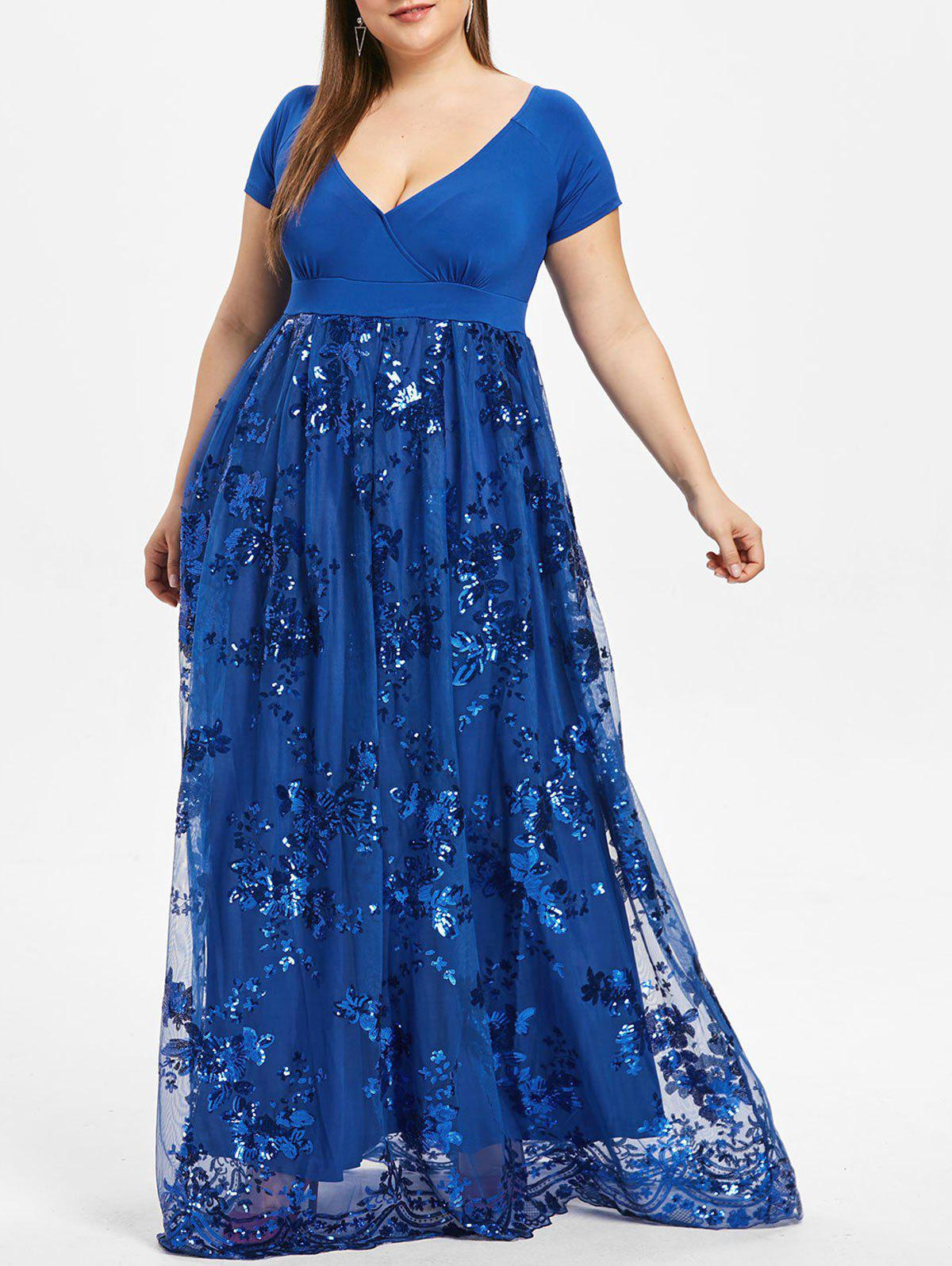 Chic Plus Size Floral Sequined Maxi Prom Dress