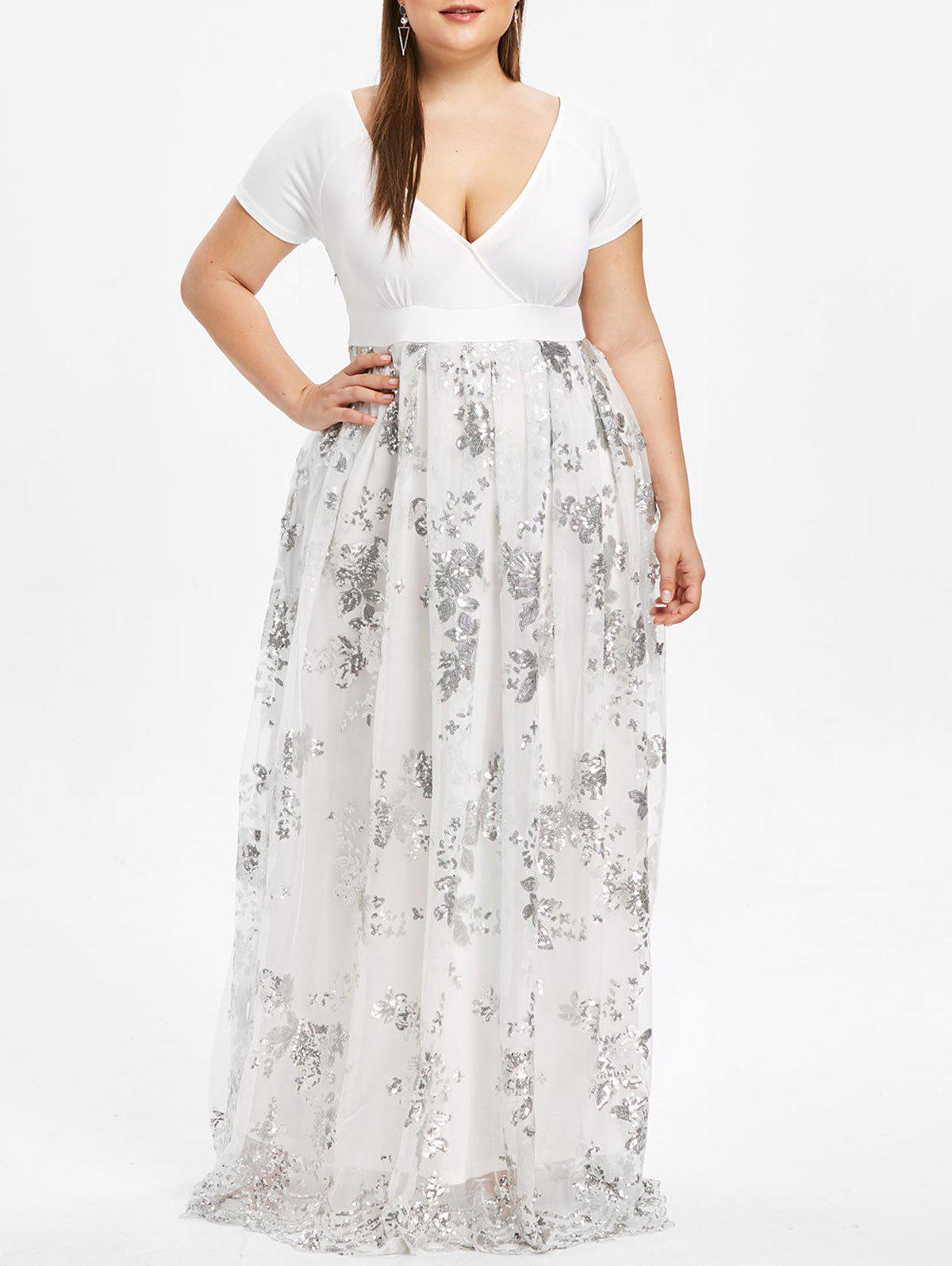 6e0b5515 25% OFF] Plus Size Floral Sequined Maxi Prom Dress | Rosegal