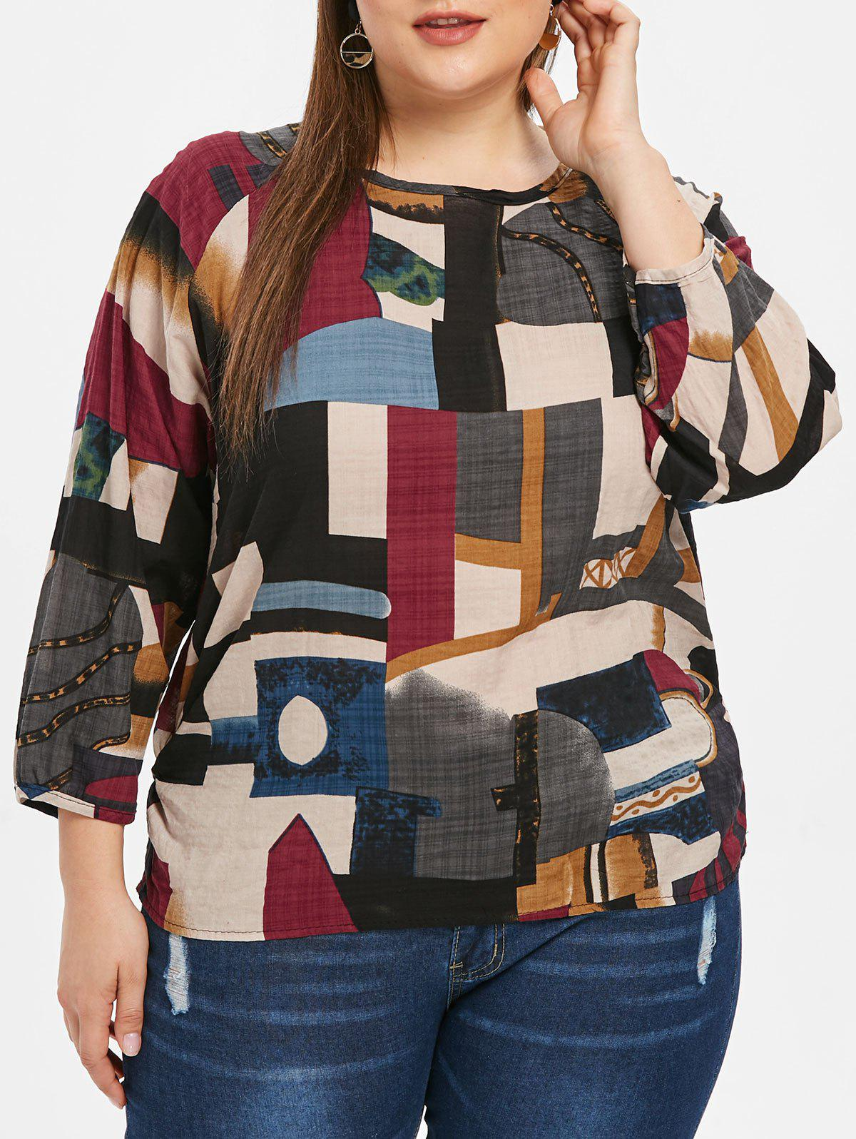 Chic Raglan Sleeve Abstract Print Plus Size T-shirt