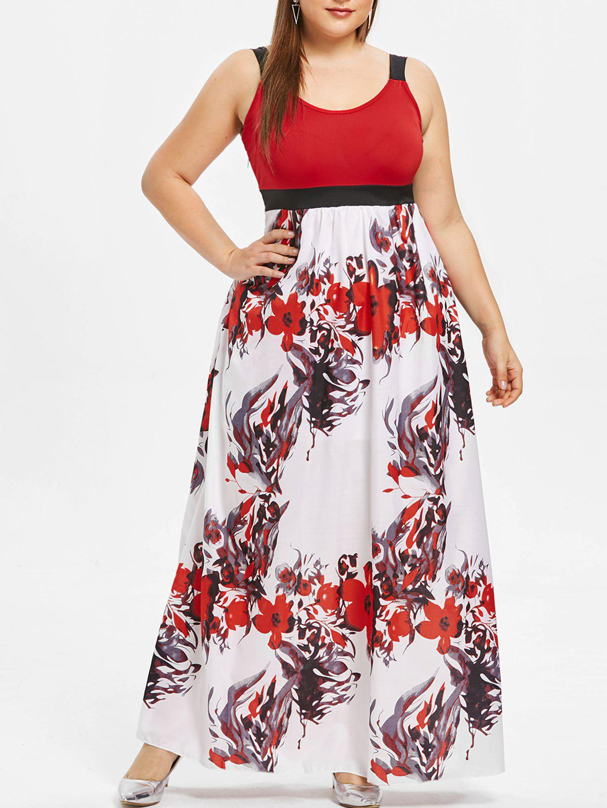 5350964232f4e 50% OFF   2019 Plus Size Sleeveless Floral Print Maxi Dress ...