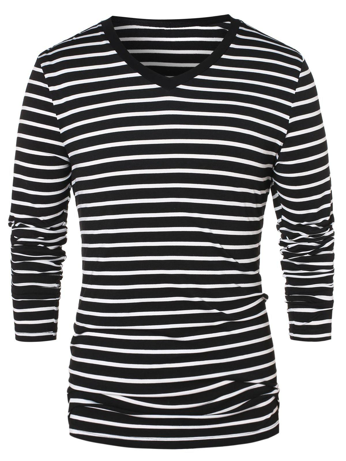 Trendy V Neck Long Sleeve Striped Top