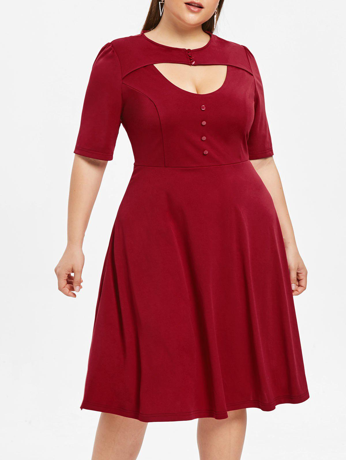 Cheap Plus Size Cut Out Fit and Flare Dress