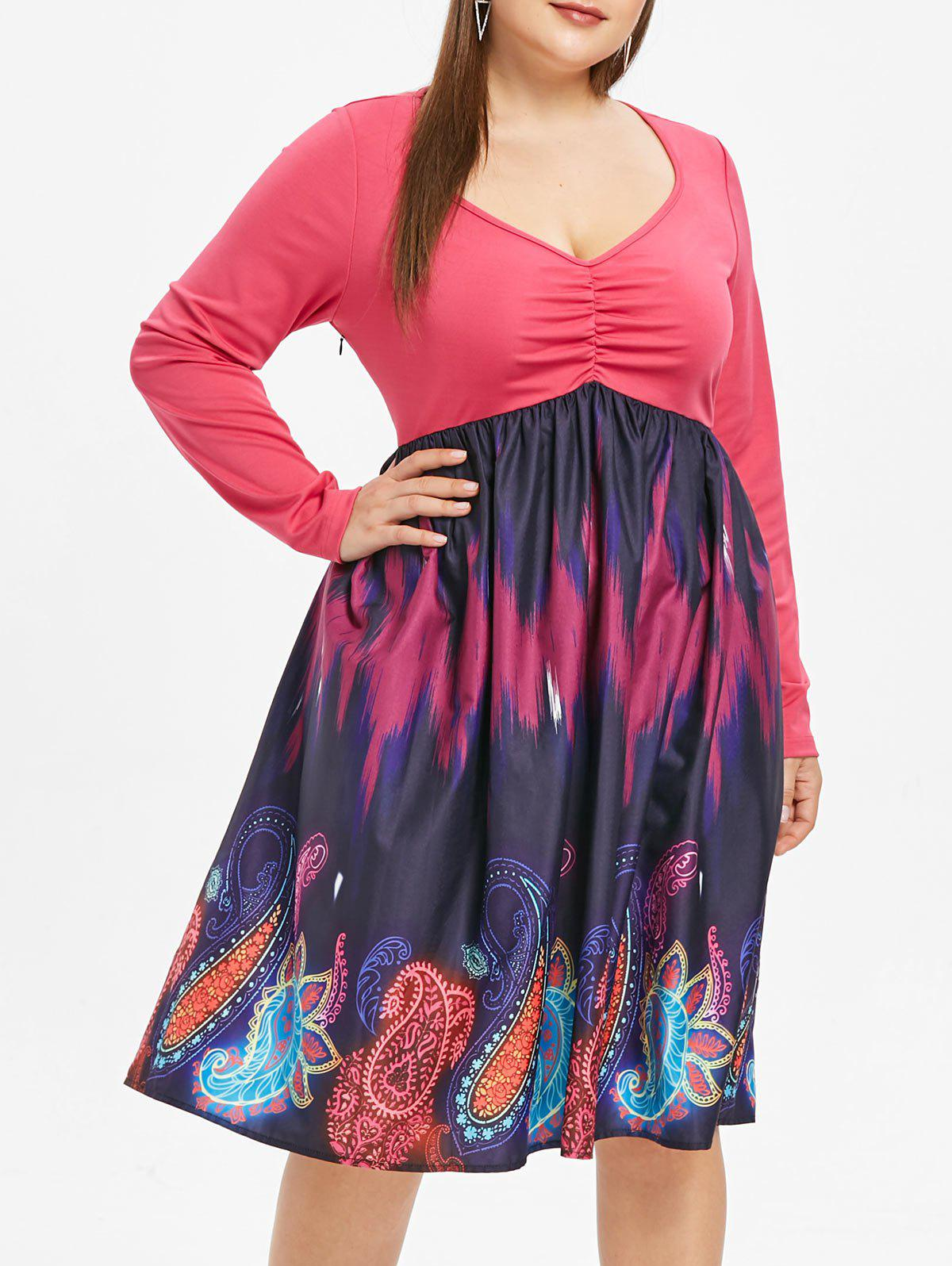 New Plunge Plus Size Paisley Print A Line Dress