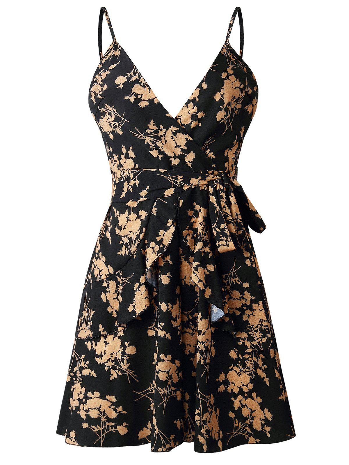 Outfit Spaghetti Strap Floral Print Flounced Dress