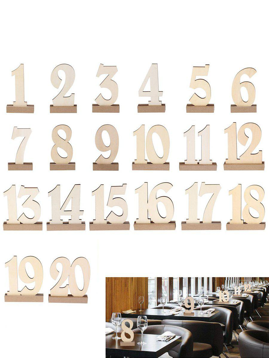 Fancy Number 1 to 20 Sign Wooden Wedding Party Decoration Set