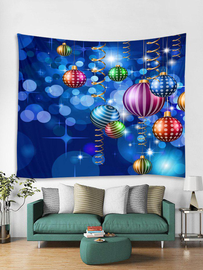 Fancy Christmas Colorful Balls Print Tapestry Wall Hanging Art