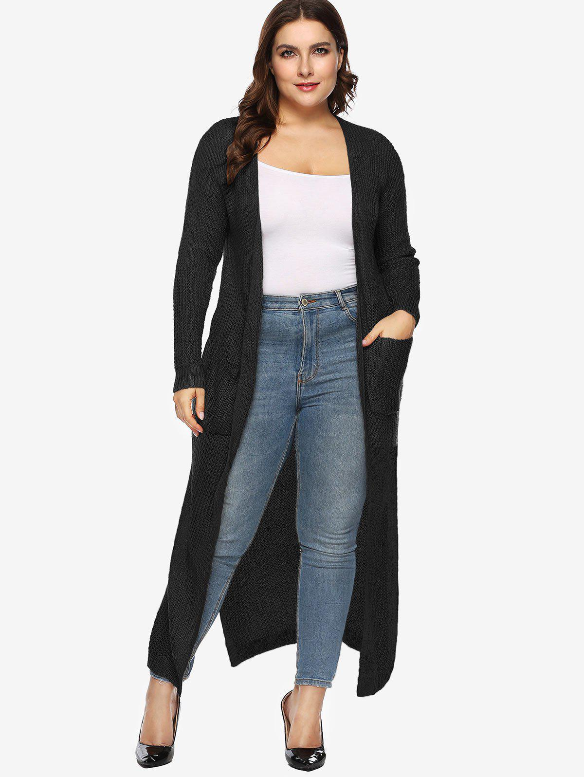 Cheap Side Slit Plus Size Longline Cardigan