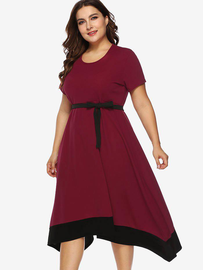 6653d74b0f19 46% OFF] Contrasting Trim Plus Size Asymmetrical Dress With Belt ...