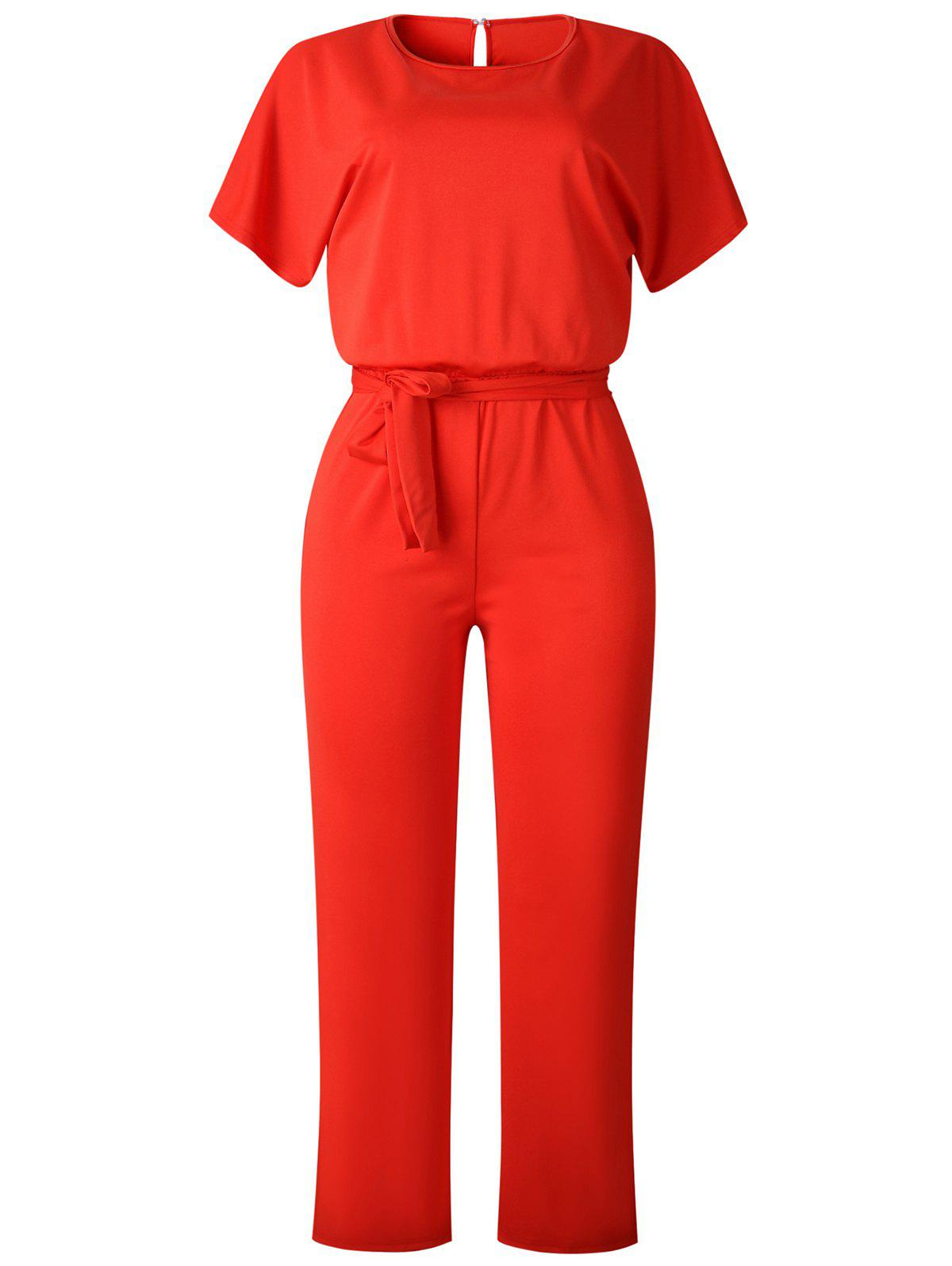 Outfit Short Sleeve Belted Straight Jumpsuit