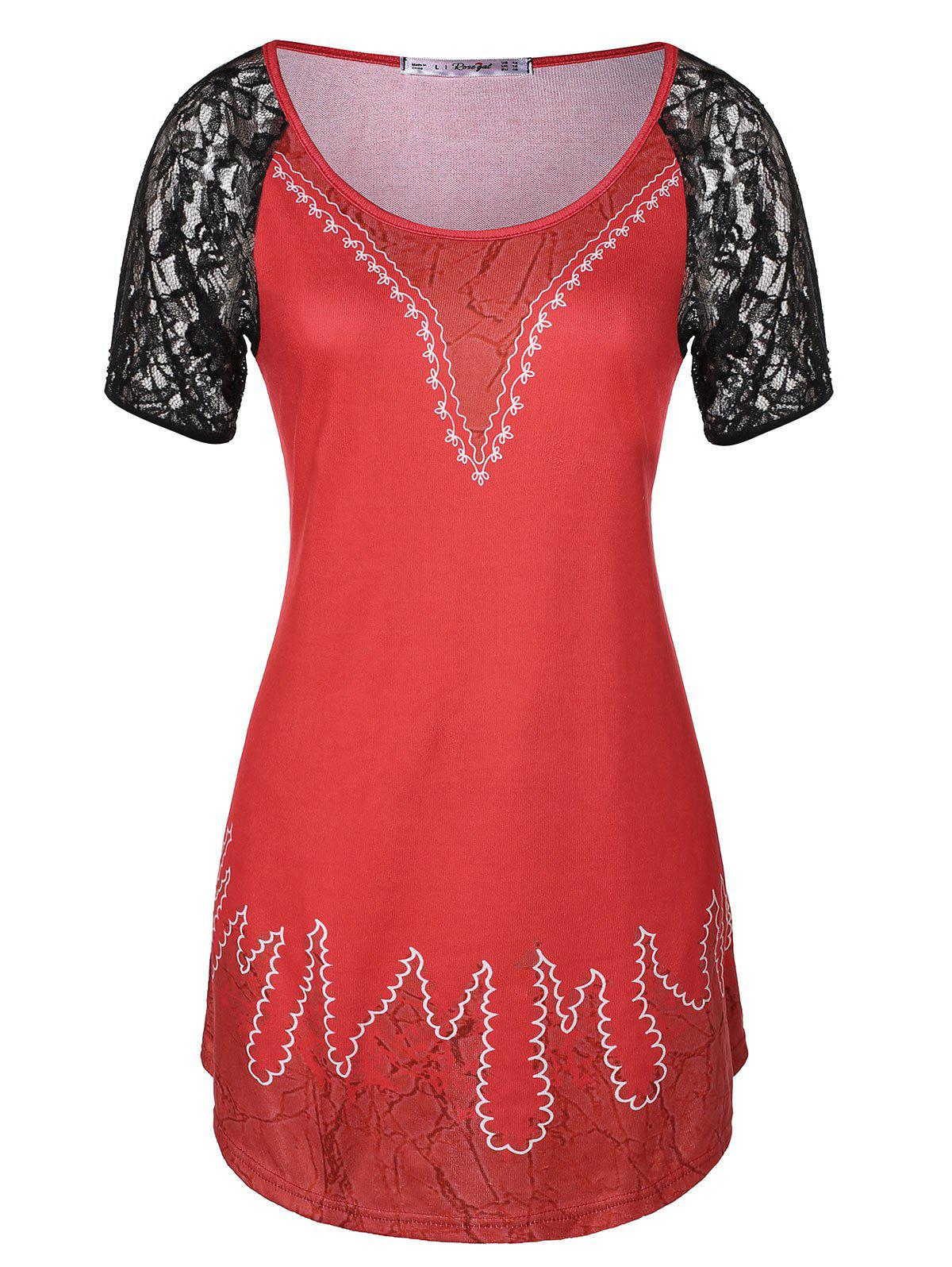 Outfits Plus Size Lace Panel Tunic T-shirt