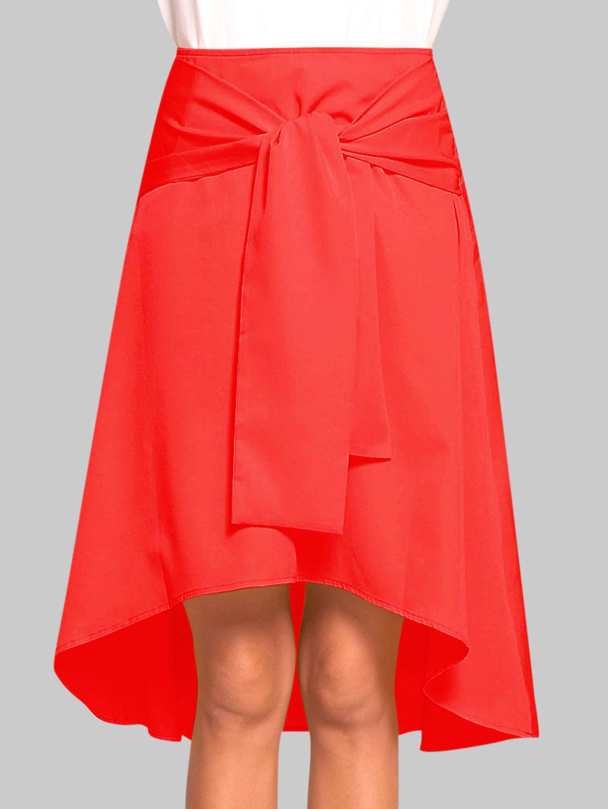 Sale Tie Front High Low Skirt