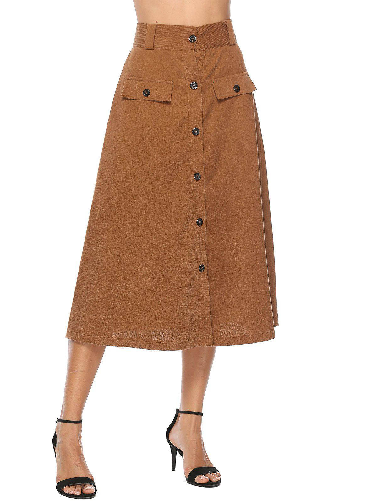 Outfit Corduroy Button Up A Line Skirt